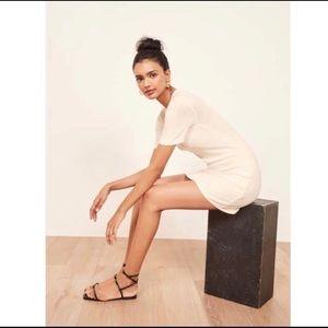 REFORMATION Gigi Ribbed Cream Dress L Short Sleeve